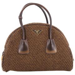 Prada Vichy Vintage Bowler Bag Tweed Large