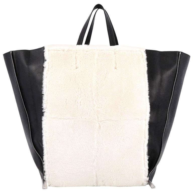 Celine Vertical Gusset Cabas Tote Shearling and Leather Large For Sale