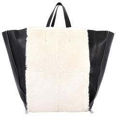 Celine Vertical Gusset Cabas Tote Shearling and Leather Large
