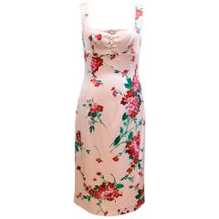 Dolce & Gabbana Pink Silk Floral Dress