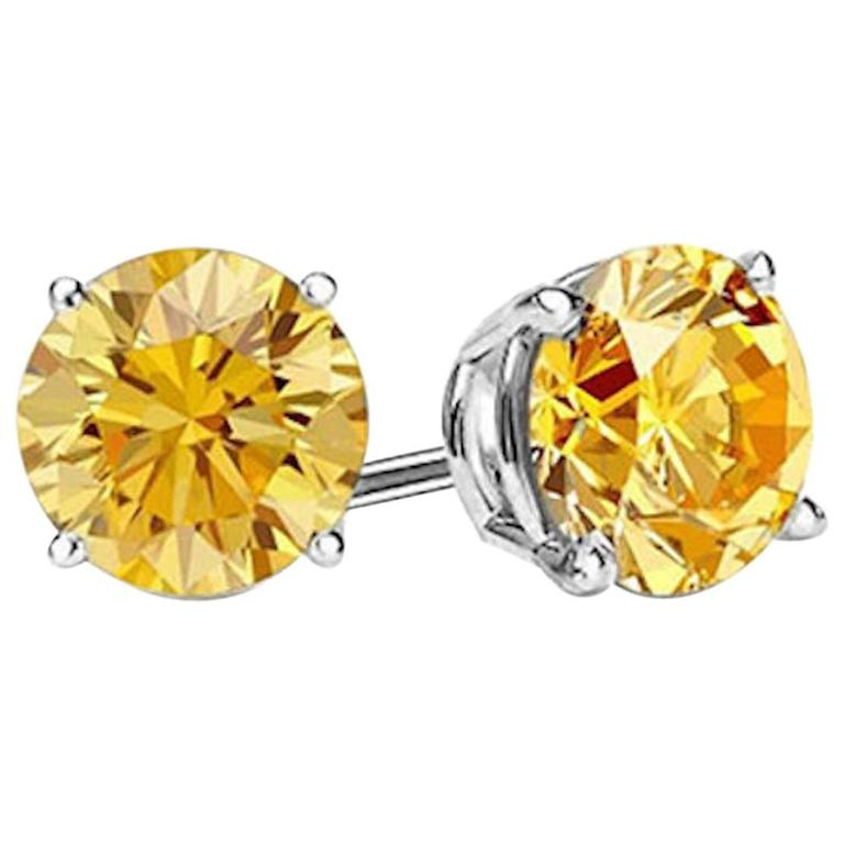 Intense Canary 12 Carat Each Faux Diamond Studs At 1stdibs