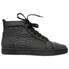 Christian Louboutin Black Python High Top Sneakers