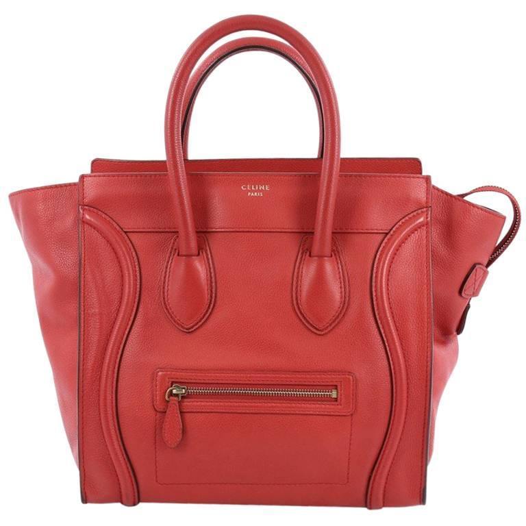 Celine Luggage Handbag Grainy Leather Mini 1