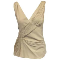 Picture Perfect Prada Pleated Sleeveless Blouse in Soft Beige Viscose