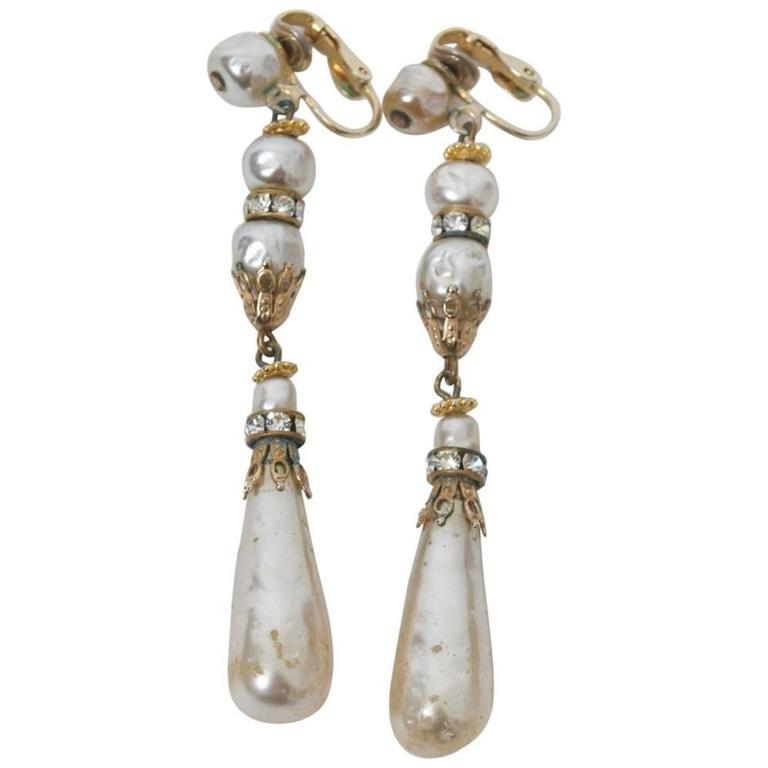 Hattie Carnegie Long Pearl Drop Earrings For
