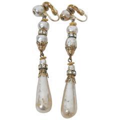 Hattie Carnegie Long Pearl Drop Earrings