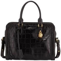 Alexander McQueen Black Embossed Croc Mini Padlock Satchel Bag w/ Strap