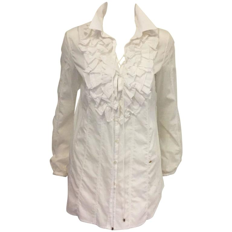 Romantic Roberto Cavalli's Frilly Blouse in Pure White with Ruffles and Lace   1