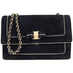 Salvatore Ferragamo Black Suede Ginny Crossbody Bag w/ Bow