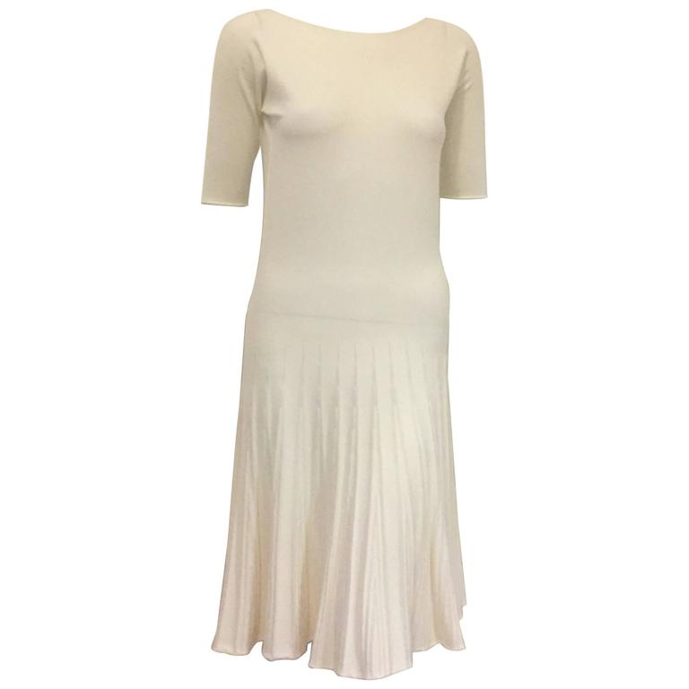 Amazing Armani Ivory Dress with Faux Pleats on Skirt and Short Sleeves