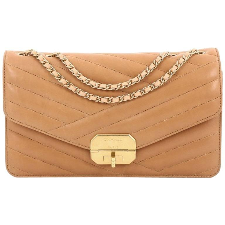 dc8c75458bd6af Chanel Gabrielle Flap Bag Chevron Leather Medium at 1stdibs