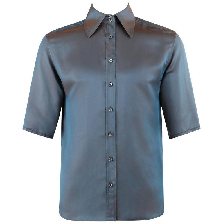 GUCCI S/S 1998 TOM FORD Iridescent Silk Blend Button Down Short Sleeve Shirt