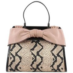 Valentino Aphrodite Bow Bag Woven Raffia and Patent Medium