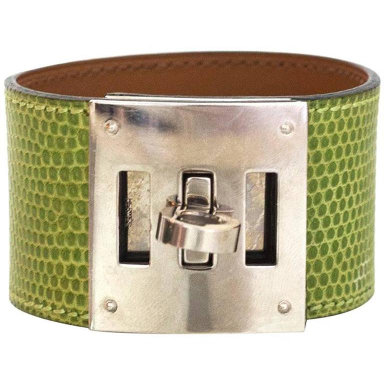 Hermes Green Lizard Kelly Dog Cuff Bracelet sz S For Sale