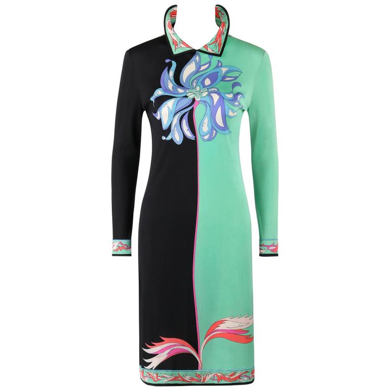 EMILIO PUCCI c.1970's Mint Green & Black Colorblock Floral Signature Print Dress For Sale