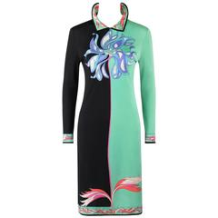 EMILIO PUCCI c.1970's Mint Green & Black Colorblock Floral Signature Print Dress