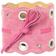 Prada Pink Suede Grommet Cuff