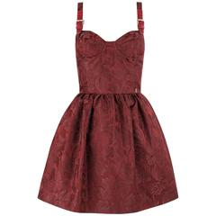JOHN GALLIANO A/W 2010 Wine Red Floral Brocade Buckle Strap Cocktail Dress