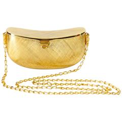 Chic 1980s Rodo Brushed Gold Metal Bean Clutch
