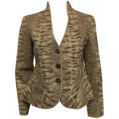 Giorgio Armani's Reptile Embossed Lambskin Trendy Jacket in Ivory and Brown