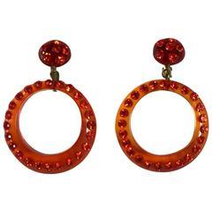 1920s Clear Orange Celluloid Clip On Hoop Drop Earrings Dazzling Stonework