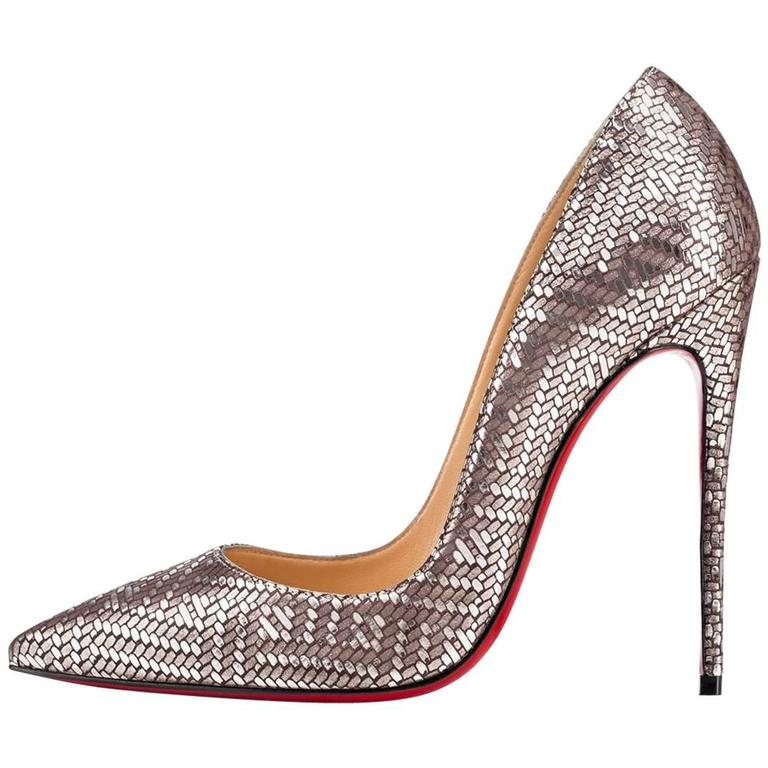 8d35d56bb420 Christian Louboutin New Leather Silver Geometric So Kate Heels Pumps ...
