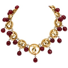 Chanel Rare Red Gripoix Drops Choker Necklace