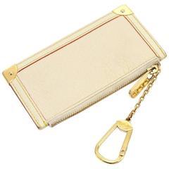 Louis Vuitton Pochette Cles White Suhali Leather Coin Key Case
