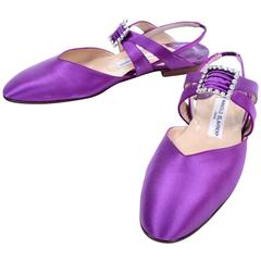 New Vintage Manolo Blahnik Purple Satin Vintage Shoes With Rhinestone Buckles 39