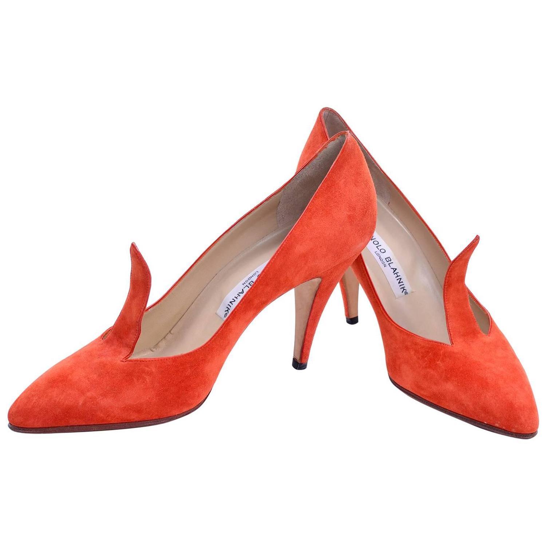 rare vintage orange suede manolo blahnik fall shoes w flame size 385