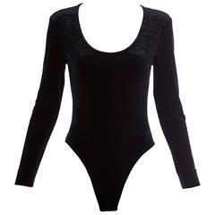 Cheap And Chic By Moschino Black Nylon Spandex Velvet Bodysuit, Early 2000s