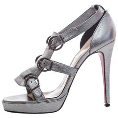 Christian Louboutin Gunmetal Grey Leather Platform Pump