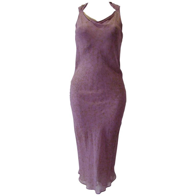 Istante By Gianni Versace Halter Neck Silk Dress