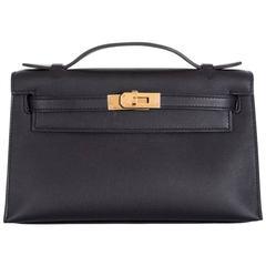 Hermes Kelly Pochette Clutch Cut Black Gold hardware