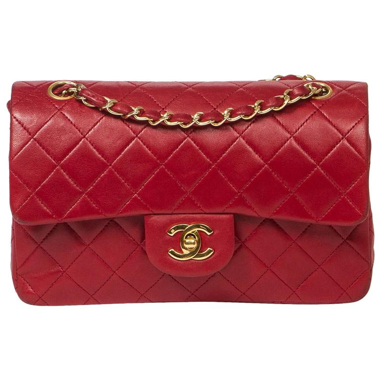 Chanel Classic Double Flap 23cm Red Quilted Leather For Sale