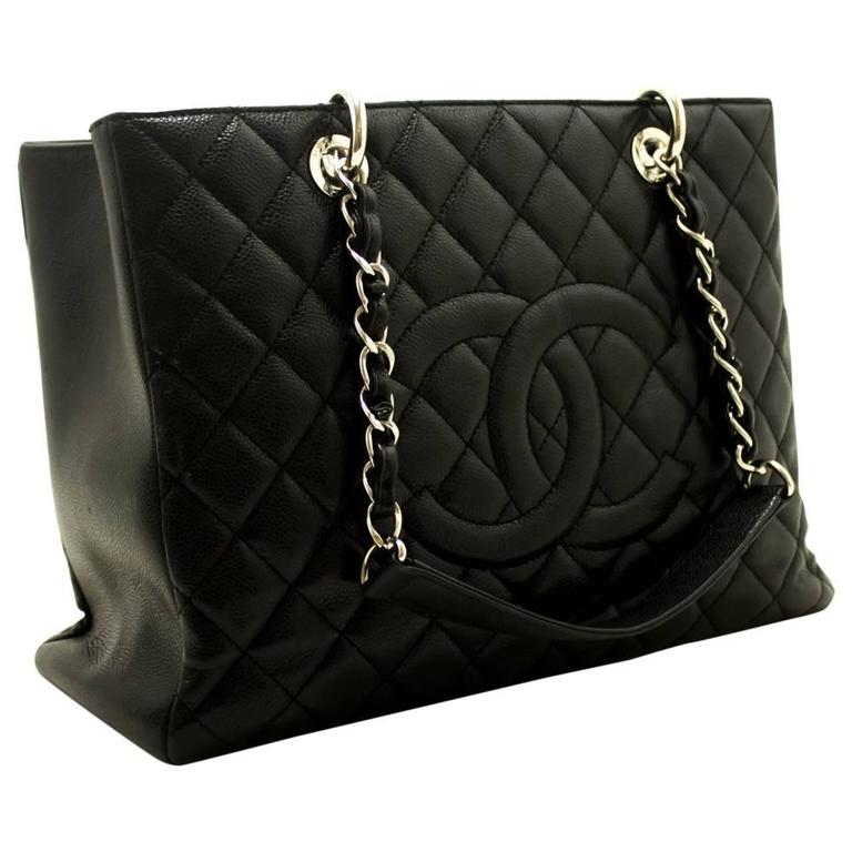 Chanel Caviar Gst 13 Grand Ping Tote Chain Shoulder Bag Black For