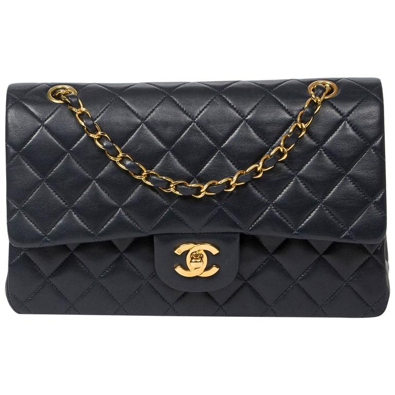 Chanel Classic Double Flap 26cm Navy Leather 1
