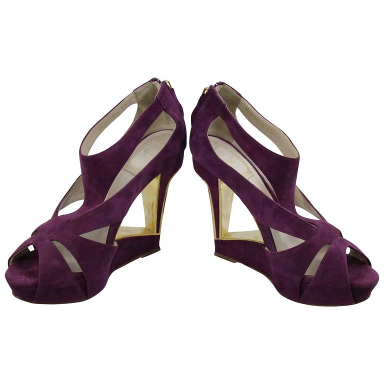 Christian DiorGolden and Purple Architectural Sandals. Size 4 (35 FR)