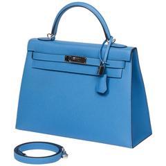Hermes Kelly Sellier 32 Blue Paradise Epsom