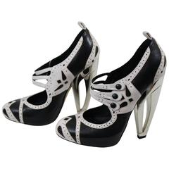 Christian Dior Amazeing Leather Shoes with Silver architectural heel. Size 5 US
