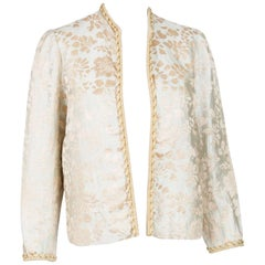 1960s Gold and Ivory Jacquard Carven Evening Jacket