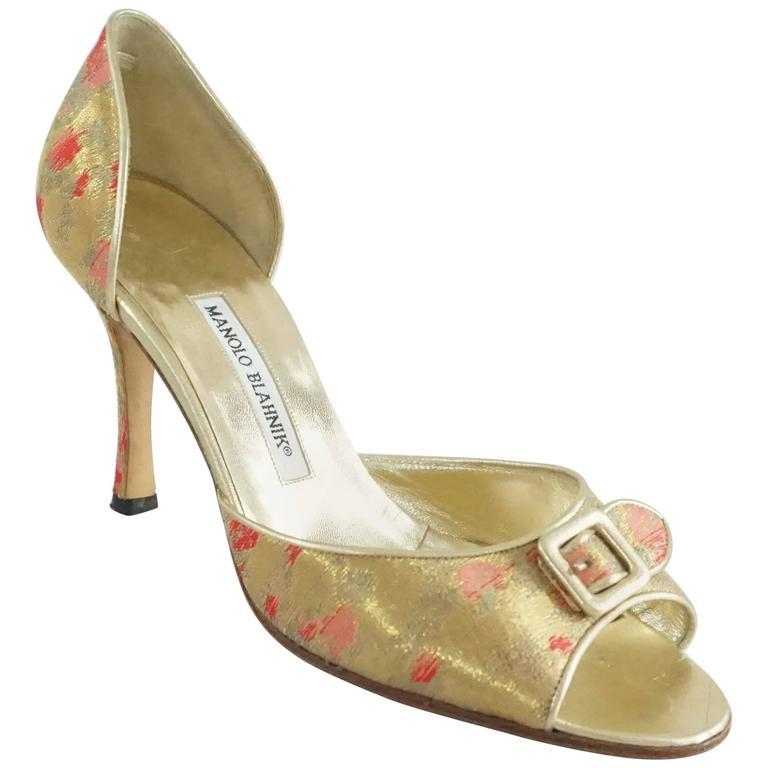 Manolo Blahnik Gold Metallic Brocade D'Orsay Heel