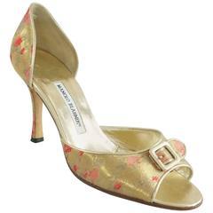 Manolo Blahnik Gold Metallic Brocade D'Orsay Heel - 40