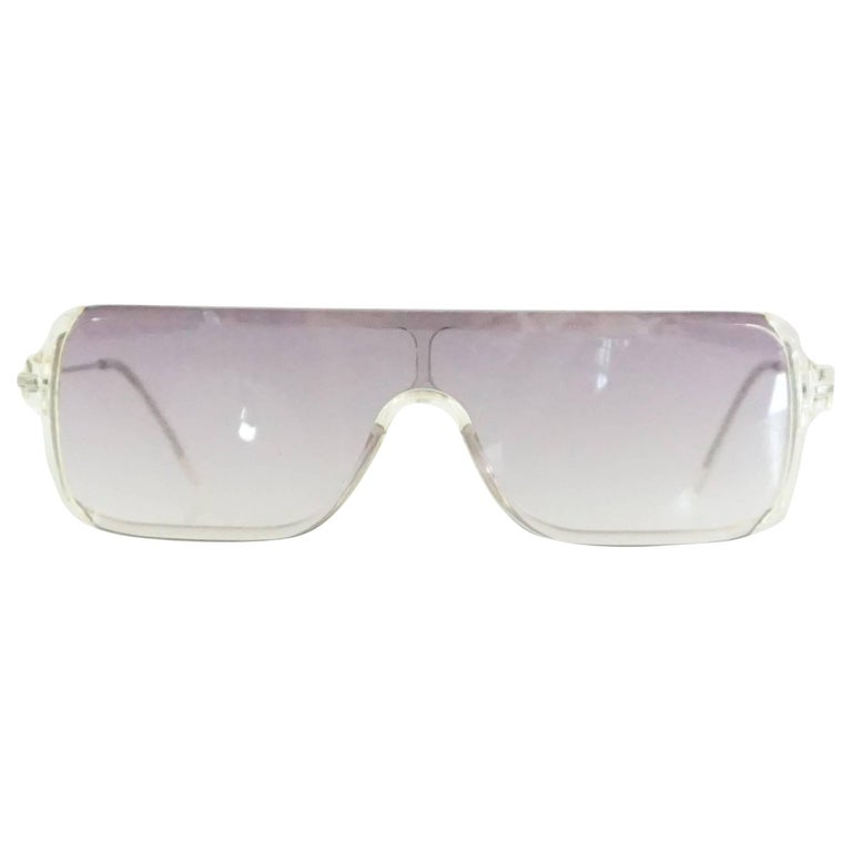 5422fa6b2cc Prada Clear Rectangular Sunglasses with Purple Tinted Lenses For Sale at  1stdibs