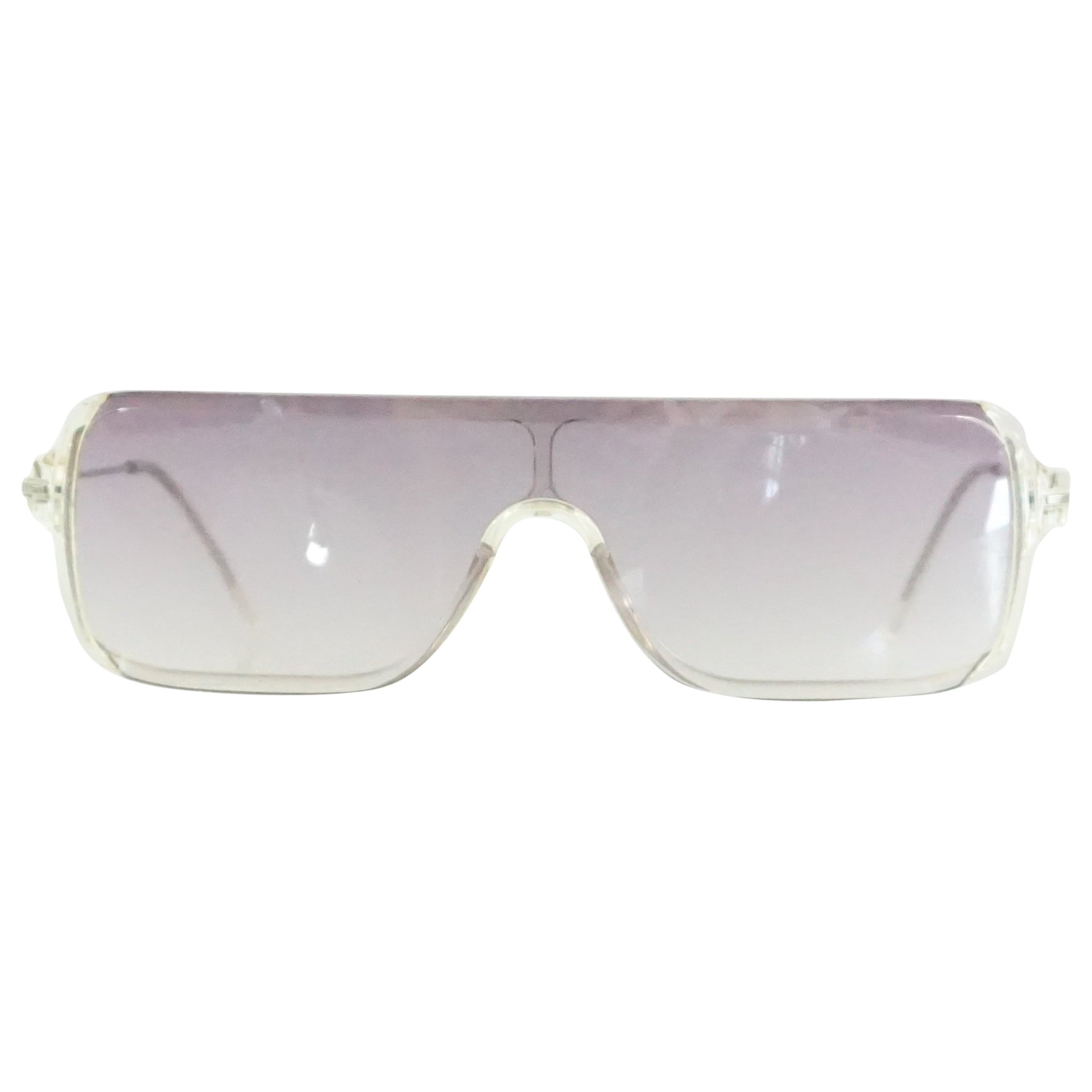 fdec4a0677ee Prada Clear Rectangular Sunglasses with Purple Tinted Lenses For Sale at  1stdibs