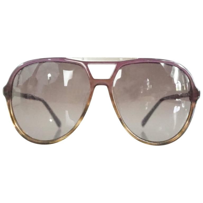 Chloe Brown and Purple Aviator Sunglasses For Sale