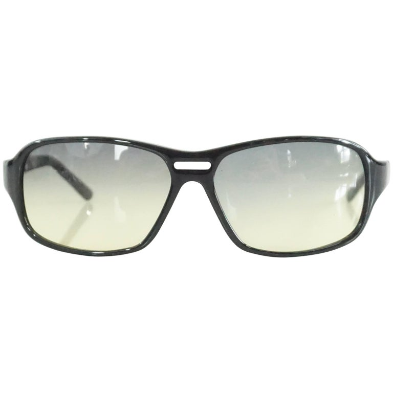 Prada Black Framed Sunglasses with Yellow Tinted Lenses For Sale at ...