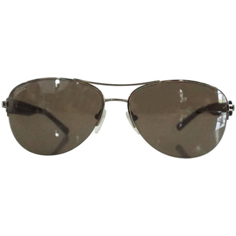Bvlgari Silver Aviator Sunglasses with Tortoiseshell Legs For Sale