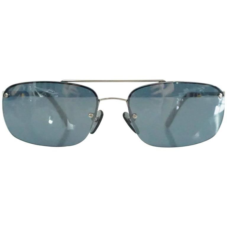 Louis Vuitton Silver Frameless Rectangular Sunglasses For Sale