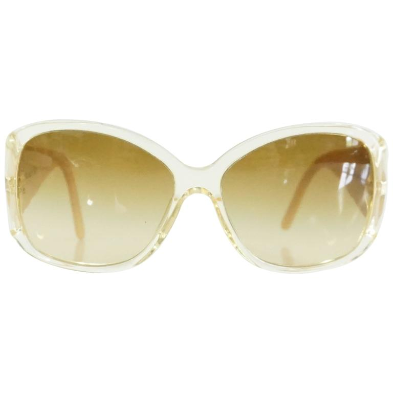 Versace Beige with White and Gold Bow Detailing Sunglasses